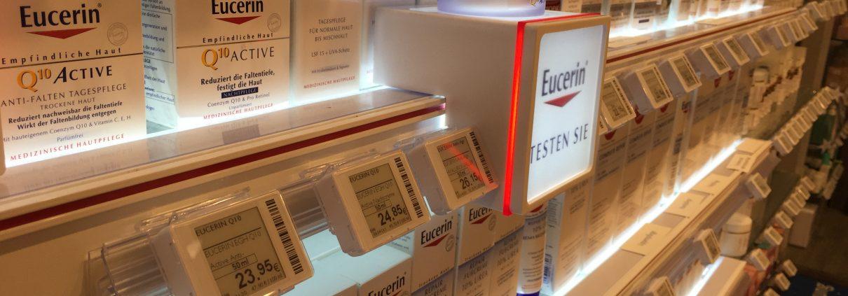 Elektronische Preisauszeichnung in einer Apotheke