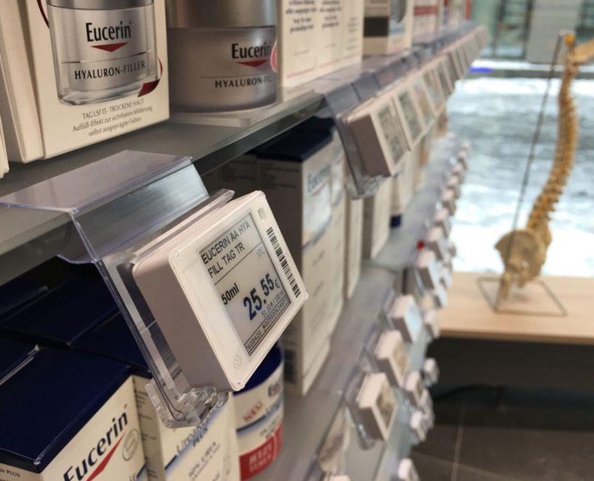Preisauszeichnung als elektronische Variante in einer Apotheke