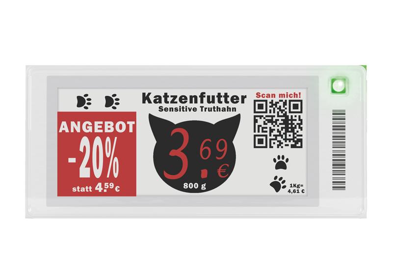 Digitales Preisschild 2.9 Zoll mit Roter Farbe